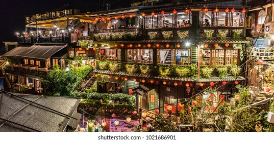 Jiufen, Taiwan – 17 December 2016: Located along Jiufen's old street is traditional A Mei Tea House, the famous tourist spot in Jiufen.