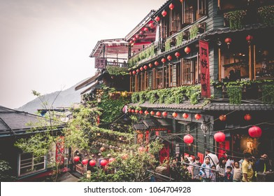 Jiufen, Taiwan - April 30, 2016: A picture of Jiufen Street Market. Jiufen is a mountain town in northeastern Taiwan, east of Taipei.