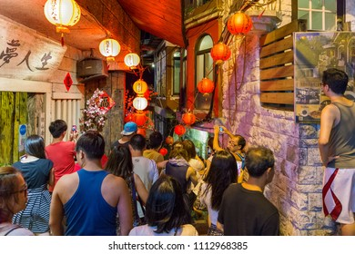 JIUFEN, TAIWAN - AUGUST 17: This is a street in Jiufen old town, a famous old town and popular travel destination on August 17, 2014 in Jiufen