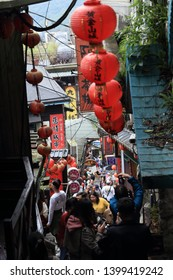 Jiufen, Taiwan Feb 19, 2019 : Jiufen (Chiufen) Village old street tourist shopping in old Japanese gold mining town. Jiufen is a renowned tourist attraction representative of Taiwan