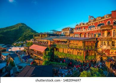 Jiufen, Taiwan JULY 27,2017: Many tourist in restaurant at old street in Jiufen Taiwan