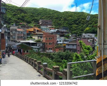 Jiufen, Taiwan -  July 6, 2015: View Jiufen Old town village over mountain that is the place where you have to go to travel in Taiwan.