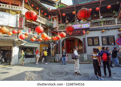 Jiufen, Taiwan - November 21, 2018: Scenic of Jiufen Village. This place is a travel destination in Ruifang District, Taiwan.