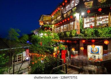 Jiufen, Taiwan - November 7 2018: A night view of the famous old teahouse decorated with Chinese lanterns, Jiufen Old Street, Taiwan on November 02 2018.