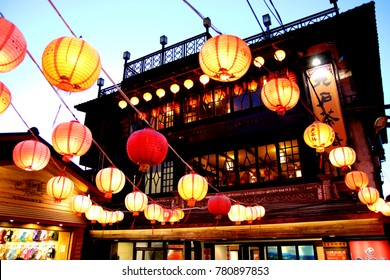 Jiufen, Taiwan-The evening scene of a town in northern Taiwan