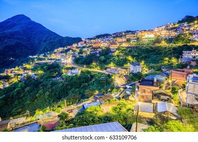 Jiufen village a mountain village at dusk in Taipei which is famous for teahouses in Taipei, Taiwan