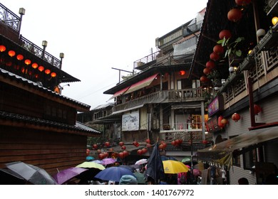 Jiufen/Taiwan- 2018: Rainy Day in Jiufen Old Town in Taiwan