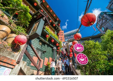 JIUFEN,TAIWAN - JULY 27: Local and tourist are walking and shopping at Jiufen old street in Ruifang district,Taiwan on July 27, 2017.
