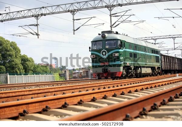 JIUJIANG CHINA-June 25, 2011:China Beijing Kowloon railway artery on the freight train.Railway Logistics in China.