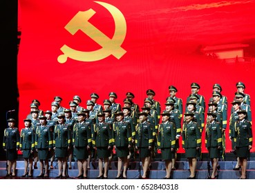 JIUJIANG CHINA-Nov 8, 2016:the military band of the Chinese people's Liberation Army under the leadership of the Communist Party of China was singing revolutionary songs for the audience on the stage.