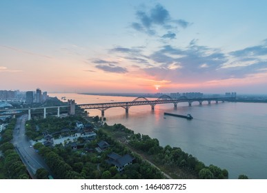 jiujiang combined highway and railway bridge, yangtze river in summer dusk, jiangxi province, China