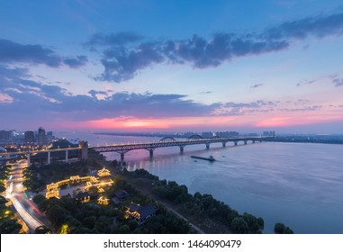jiujiang yangtze river bridge in night falls, China