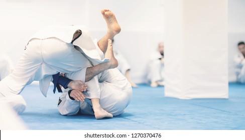 jiu-jitsu exercise training for martial art practice instructor doing workout for brazilian traditional jiu jitsu technique