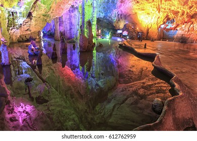 Jiuxiang, China - March 29, 2017: Cave in the Jiuxiang scenic region in Yunnan in China. Thee Jiuxiang caves area is near the Stone Forest of Kunming