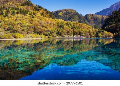 Jiuzhaigou national park, Five Flower Lake is lake in Sichuan, China
