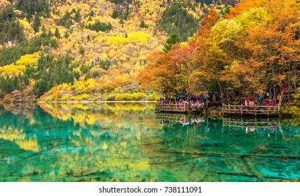 Jiuzhaigou National Park. Sichuan Province. beautiful scenic. Lake. wooden bridge. Travel. China