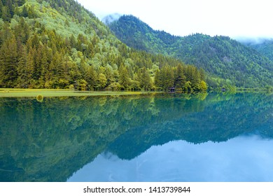 Jiuzhaigou scenery, China - June 15, 2017: this is located in China's jiuzhaigou scenic area, a famous tourist destination in China.Most of it is pristine.The color of the lake is the color of nature.