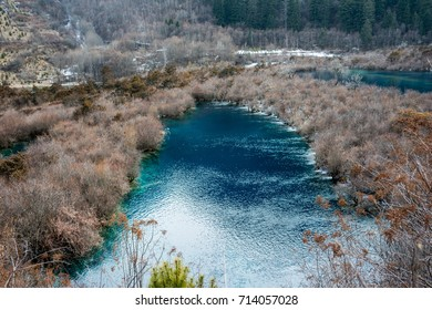 Jiuzhaigou Valley, Sichuan, China.River in a picturesque area against the background of wildlife