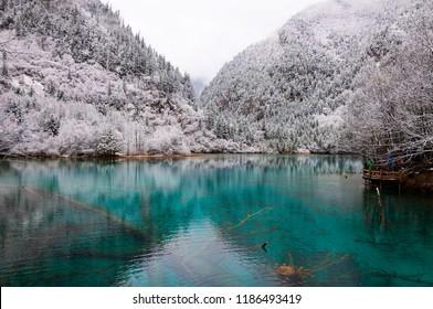 Jiuzhaigou Wuhuahai Snow Scene