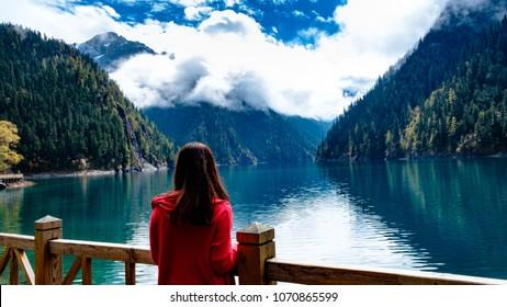 Jiuzhaigou's Long Lake fantastic sight, China.
