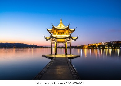 """Jixian pavilion in hangzhou during sunset.the chinese word in photo means""""Jixian pavilion"""""""