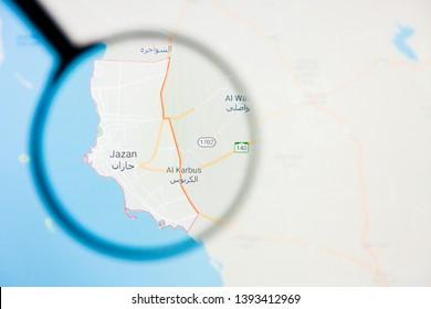 Jizan city in Saudi Arabia visualization illustrative concept on display screen through magnifying glass