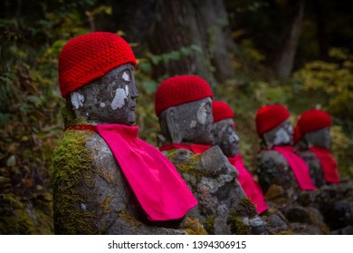 Jizo Bodhisattva or Bake Jizo also known as Ghost Jozi statues at Canmangafuchi abyss in Nikko Japan