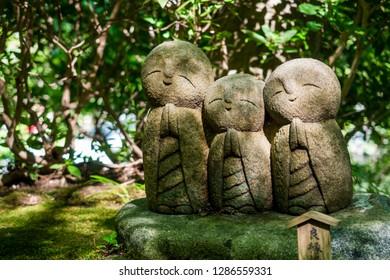 Jizo chibi, the guardian of children of Hase-dera Temple. Kamakura, Japan - Sep, 2018.