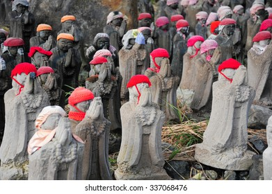Jizo statue in the volcanic mountains of Nasu Sessho-seki Rock ,Tochigi, Japan
