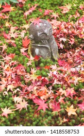 Jizo stone statue of Enkoji temple (Enkou-ji) in autumn, Kyoto, Japan.