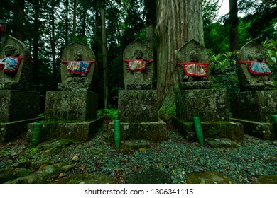 Jizo Stone Statues in Japanese Temple's Forest