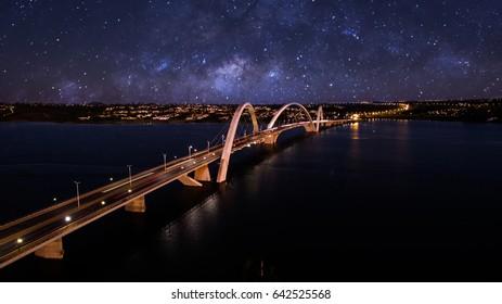 JK Bridge at night with a fake sky full of stars