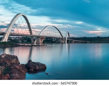 JK Bridge and Paranoa Lake in Brasilia, Brazil.
