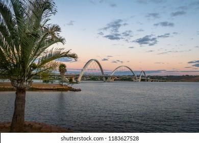 JK Bridge and Paranoa Lake at Sunset - Brasilia, Distrito Federal, Brazil