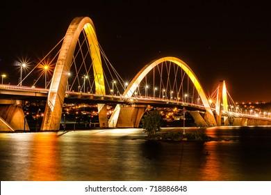 JK Bridge is a steel and concrete bridge crossing Lake Paranoá in Brasília, Brazil. Photo taken on 7/26/2017