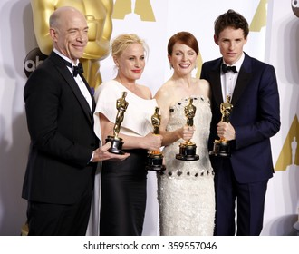 J.K. Simmons, Patricia Arquette, Julianne Moore and Eddie Redmayne at the 87th Annual Academy Awards - Press Room held at the Loews Hollywood Hotel in Los Angeles, USA February 22, 2015.