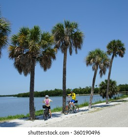JN DING DARLING STATE PARK ON SANIBEL ISLAND FLORIDA USA - CIRCA 2012 - Cyclists in the JN 'Ding' Darling National Wildlife Refuge on Sanibel Island Florida USA