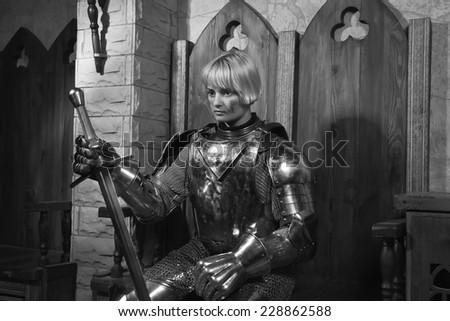 Joan Arc Girl Knights Armor Interior Stock Photo Edit Now