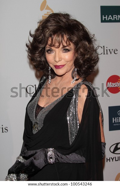 Joan Collins at the Clive Davis And The Recording Academy's 2012 Pre-GRAMMY Gala, Beverly Hilton Hotel, Beverly Hills, CA 02-11-12