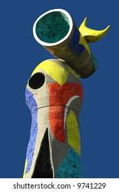 Joan Miro sculpture of bird in the parc Joan Miro Barcelona Spain