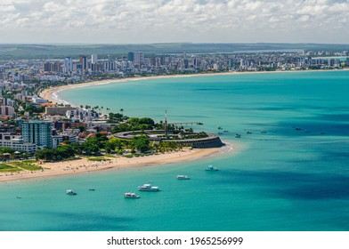 Joao Pessoa, Paraiba, Brazil on March 19, 2009. Aerial view of the city showing the beaches of Tambau and Manaira.