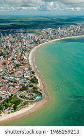 Joao Pessoa, Paraiba, Brazil on March 21, 2009. Aerial view of the city showing the beaches of Tambau and Manaira.