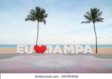 Joao Pessoa - PB, Brazil - February 21, 2019: Landmark with the words I Love Jampa in honor to the city. Letreiro Eu Amo Jampa. Beside the Busto de Tamandare. Illustrative editorial.