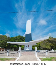 Joao Pessoa - PB, Brazil - February 25, 2019: Triangular shape lighthouse known as Farol do Cabo Branco (white cable lighthouse). Monument designed by the architect Pedro Abraao Dieb.