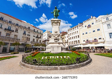 Joaquim Antonio de Aguiar monument at Largo da Portagem in Coimbra, Portugal. He was a prominent Portuguese politician.
