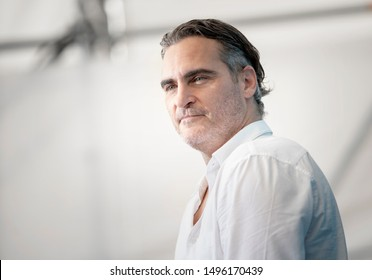 "Joaquin Phoenix attends ""Joker"" photocall during the 76th Venice Film Festival at Sala Grande on August 31, 2019 in Venice, Italy."