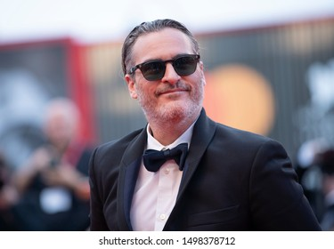"Joaquin Phoenix attends ""The Burnt Orange Heresy"" photocall during the 76th Venice Film Festival at Sala Grande on September 07, 2019 in Venice, Italy."