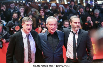 Joaquin Phoenix, Udo Kier and Gus Van Sant attend the 'Don't Worry, He Won't Get Far on Foot' premiere during the 68th Film Festival Berlin at  Palast on February 20, 2018 in Berlin, Germany.