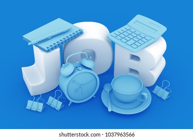"""Job Of Accountant Or Office Worker. 3D rendering graphic composition toned in blue on the theme of """"Employment And Labour""""."""