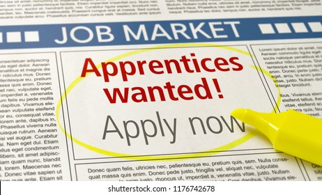 Job ad in a newspaper - Apprentices wanted